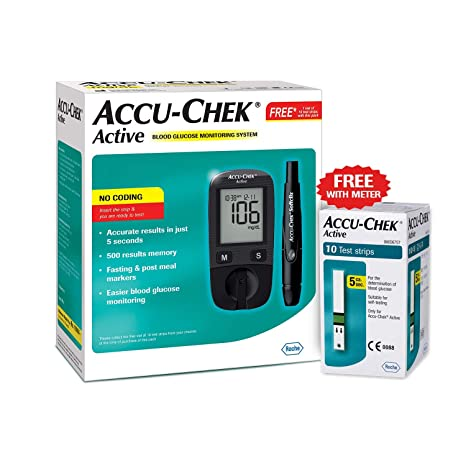 Accu-Chek Active Glucose Monitor With Free 10 Test Strips