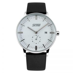 SKMEI 9083 Leather Strap Quartz Watch