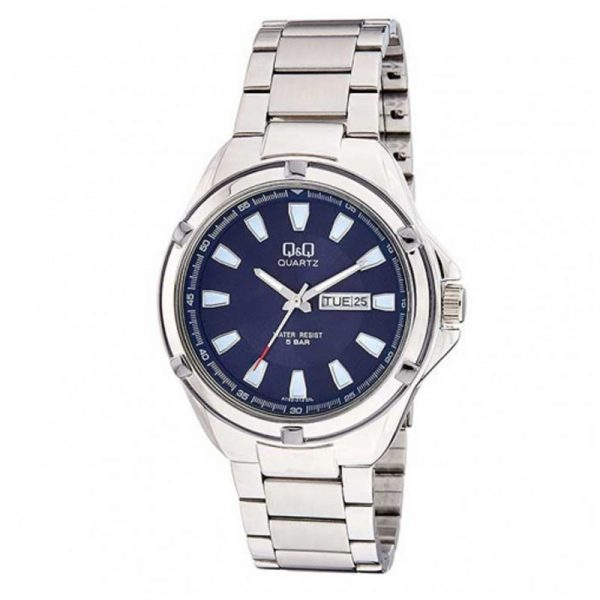 Q&Q A192-212Y Analog Day Date Wrist Watch for Men-Silver