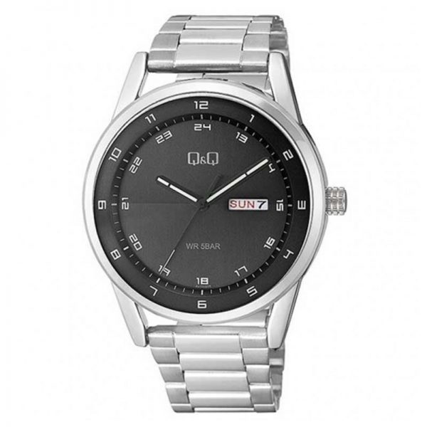 Q&Q A210J205Y Analog Day Date Wrist Watch for Men-Silver