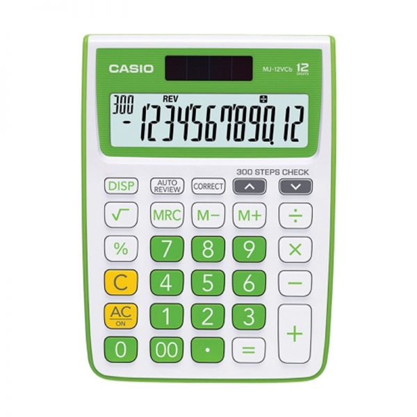 Casio MJ-12VCB-GN Solar and Battery Powered Basic Calculator