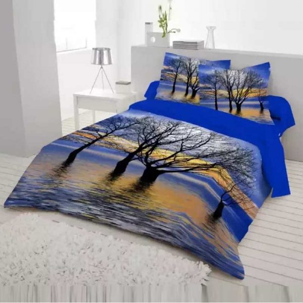 Cotton Fabric Multicolor Print 7.5 by 8.5 Feet Double King Size Bedsheet Set with Two Pillow Covers