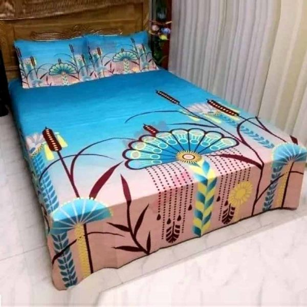 Cotton Print 7.5-8.5 Feet Double King Size Bedsheet Set With Two Pillow Covers 4