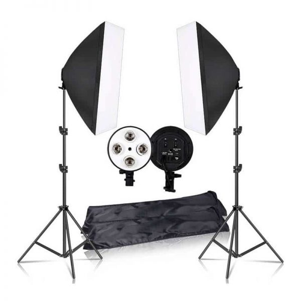 Photography 50x70CM Lighting Four Lamp Softbox Kit With E27 Base Holder