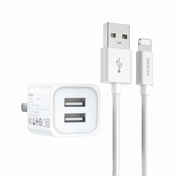 Rock T23 Double Port Travel Charger with Lighting Cable