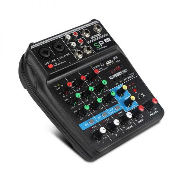 XTUGA A4 4 Channels Audio Mixer Sound Mixing Console