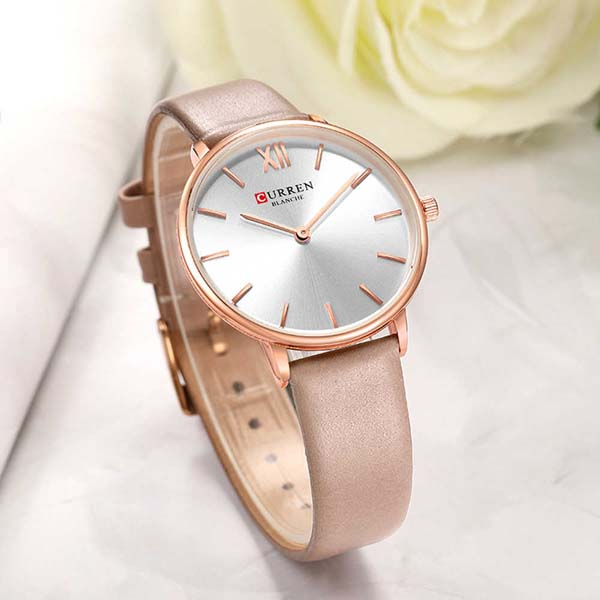 CURREN 9040 PU Leather Analog Watch for Women