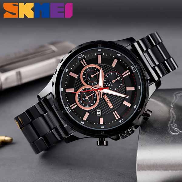 SKMEI 1551 Stainless Steel Large Dial Quartz Watch