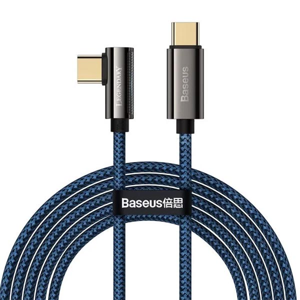 Baseus Legend Series Elbow Fast Charging Data Cable Type-C to Type-C 100W 1m Blue 1