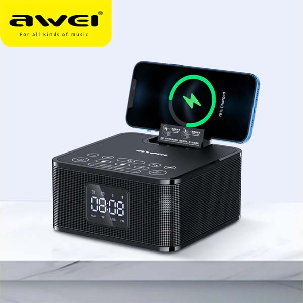 AWEI Y332 Multifunction Wireless Speaker with Power Bank and Clock 1