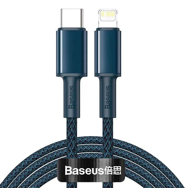 Baseus CATLGD-A03 High Density Braided Fast Charging Data Lightning Cable Type-C to iP PD 20W 2m Blue 1