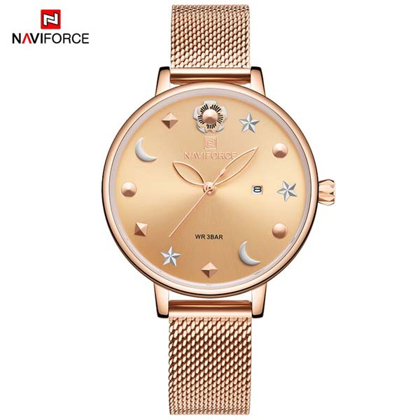 NAVIFORCE NF5009 Mesh Stainless Steel Analog Watch For Women 1