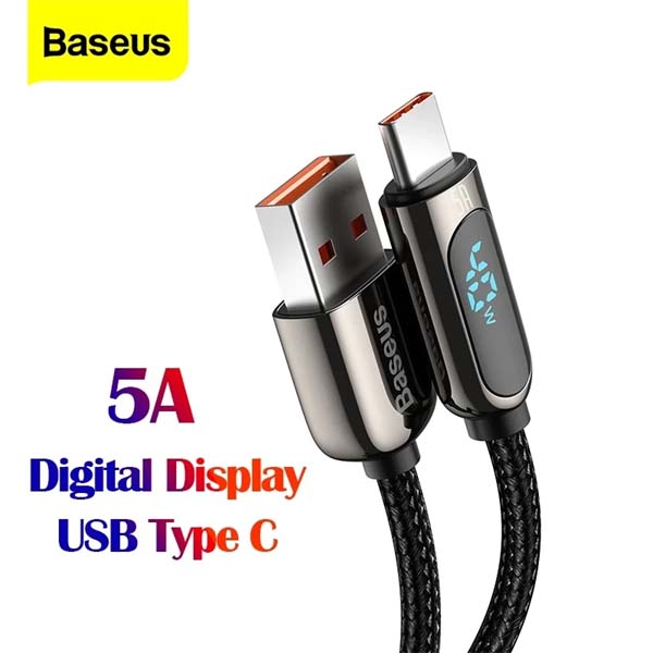 BASEUS Type-C 5A Power Display Wrap Fast Charging Data Cable USB 1