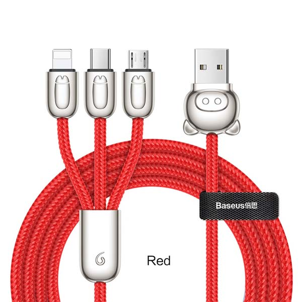 Baseus 3-in-1 Little Mouse Cable For iP Type-C Micro 1