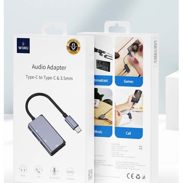 WIWU LT02 Pro Audio Adapter Type-C to Dual Type-C + 3.5mm Cable Adapter 1
